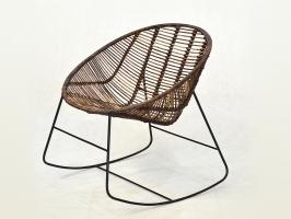 Плетене крісло-качалка Ескудо CRUZO натуральний ротанг, коричневий, kr08210