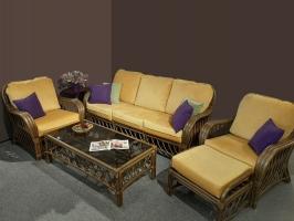 Комплект мебели Феофания-2 CRUZO (диван, 2 кресла, столик и пуф) натуральный ротанг, ореховый, fl0003