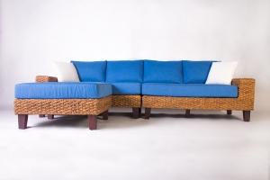 Модульний диван з пуфом Фьорд CRUZO дерево / водний гіацинт, синій, d0015