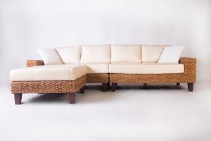 Модульный диван с пуфом Фйорд CRUZO дерево / водный гиацинт, белый, d0016