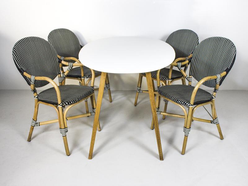 Обеденный комплект Френч Бистро (стол и 4-6 стульев) тик, белый, kt191020203