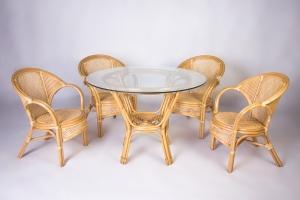 Обідній комплект CRUZO Гурзуф (стіл +4 крісла) натуральний ротанг медовий ok0022