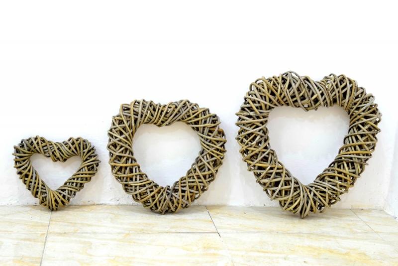 Декор Сердце для помещения (3 размера) из натурального ротанга, Cruzo™, dr0003