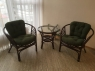 Комплект плетеной мебели Таврия Дарк-грин из натурального ротанга 2 кресла и кофейный столик темно-коричневый CRUZO 94krs