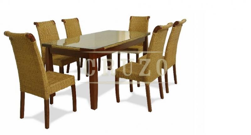 Обеденный комплект CRUZO Ява (стол +6 стульев) дерево / натуральный ротанг медовый ok0020