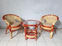 Кофейный комплект мебели Ява Терраса Сет для балкона из натурального ротанга 2 кресла и кофейный столик цвет коньяк kt290420