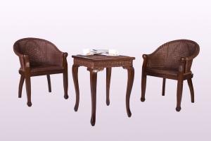 Кофейный комплект CRUZO Калипсо (столик +2 кресла) дерево / натуральный ротанг, коричневый, ok0007