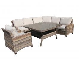 Комплект садових меблів Канкун CRUZO штучний ротанг, коричневий меланж, kn0001