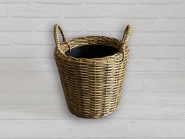 Плетеный вазон из искусственного ротанга для цветов 10 л круглый светло-коричневый CRUZO pl5103