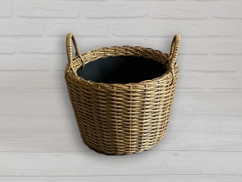 Плетеный вазон из искусственного ротанга для цветов 12 л круглый светло-коричневый CRUZO pl5126