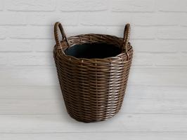 Плетеный вазон из искусственного ротанга для цветов 10 л круглый темно-коричневый CRUZO pl5102