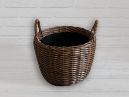Плетеный вазон из искусственного ротанга для цветов 12 л круглый темно-коричневый CRUZO pl5125