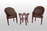 Кофейный комплект Кобра CRUZO (столик +2 кресла) дерево / водный гиацинт, коричневый, ok0023