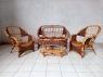 Комплект плетеной мебели Копакабана Гиацинт из натурального ротанга софа, 2 кресла и столик орехового цвета CRUZO km27040