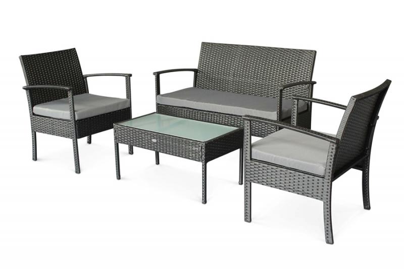 Комплект мебели Корсика CRUZO искусственный ротанг, черный, d0021