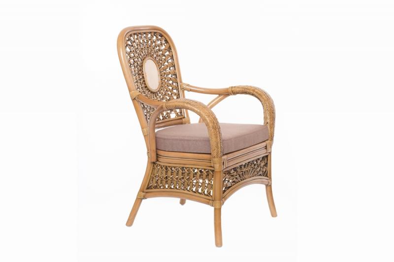 Кресло CRUZO Ацтека натуральный ротанг светло коричневый kr0021