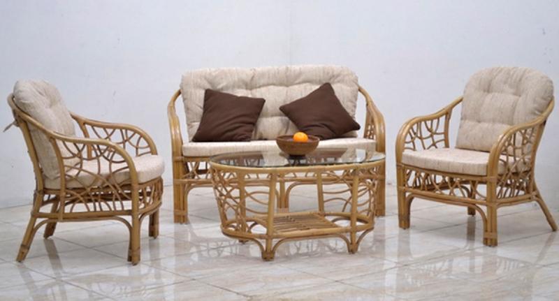 Комплект меблів Латте CRUZO натуральний ротанг, горіховий, km00097
