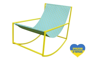 Кресло Шезлонг CRUZO kr0001 металл желтый / голубой