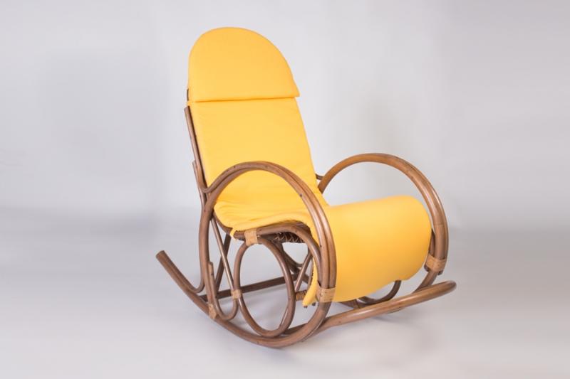 Кресло-качалка CRUZO Маки натуральный ротанг, ореховый, kk0009