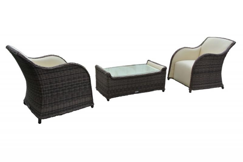 Комплект Марине CRUZO (2 крісла й столик) штучний ротанг коричневий d0003