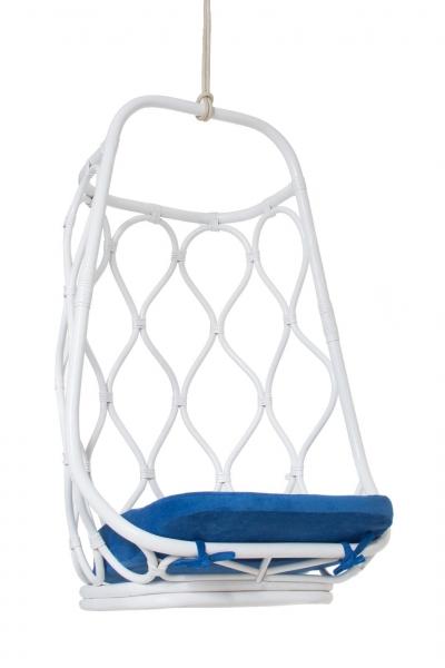 Подвесное кресло-качель Лилия CRUZO натуральный ротанг, белый с патино, ks0009