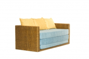 Раскладной плетеный диван Уго из натурального ротанга светло-коричневый голубой CRUZO go0001