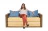 Раскладной плетеный диван Уго из натурального ротанга светло-коричневый желтый CRUZO go0002