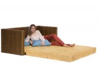 Диван-кровать CRUZO Уго натуральный ротанг с желтым матрасом go0002