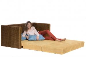 Диван-кровать Уго CRUZO натуральный ротанг, светло-коричневый, go0002