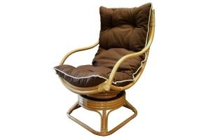 Кресло качалка CRUZO Нью Рокер натуральный ротанг ореховый (kk0011)