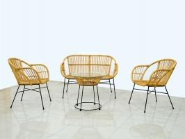 Плетений комплект меблів для тераси чи балкону Нікі з натурального ротангу софа, 2 крісла й кавовий столик CRUZO km08212