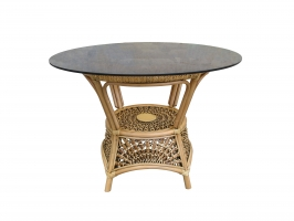 Круглый обеденный стол Ацтека CRUZO натуральный ротанг, королевский дуб, at00011