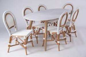 Обідній комплект CRUZO Бістро 2 (стіл + 6 стільців) білий ok0002