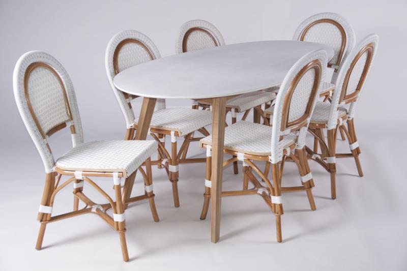 Столовый комплект CRUZO Бистро 2 (стол+6 стульев) белый (ok0002)
