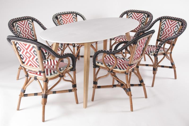 Обеденный комплект CRUZO Бистро 5 (стол +6 стульев) тик / натуральный и искусственный ротанг мультиколор ok0005
