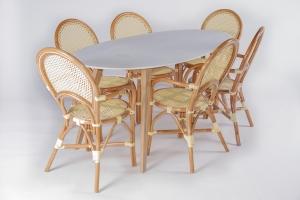 Обеденный комплект CRUZO Бистро 6 (стол+6 стульев) желтый (ok0006)