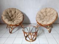 Комплект меблів Папасан Дует для дому з натурального ротангу (2 крісла і кавовий столик) світло-коричневий CRUZO km26040