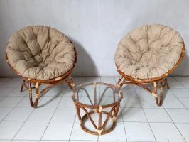 Комплект мебели Папасан Дуэт для дома из натурального ротанга (2 кресла и кофейный столик) светло-коричневый CRUZO km26040