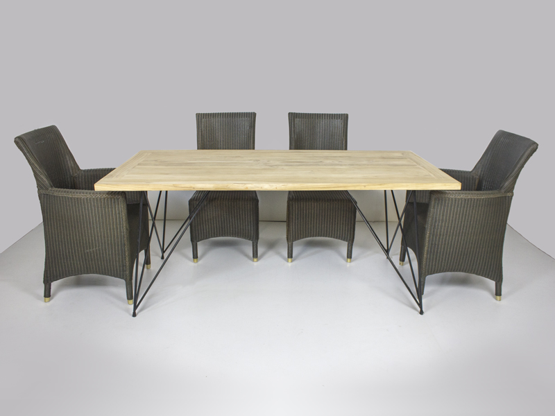 Обеденный комплект Париж CRUZO (стол 240х100 см и 6-8 кресел) тик лум металл kt211020202