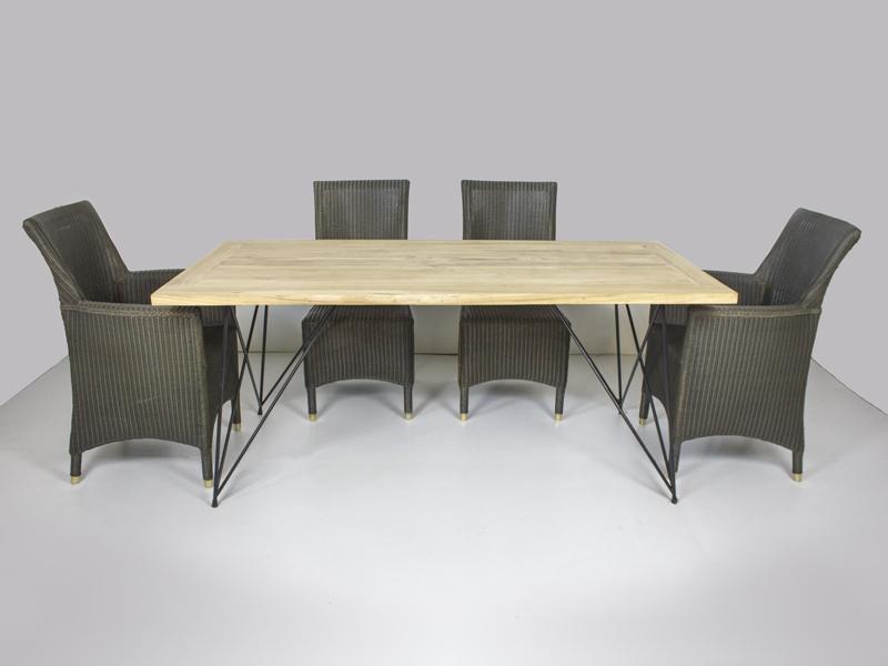 Обідній комплект Париж CRUZO (стіл 240х100 см і 6-8 крісел) тік лум метал kt211020202