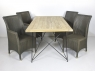 Обеденный комплект Париж CRUZO (стол 180х90 см и 4-6 стульев) тик лум металл kt211020201
