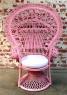 Крісло Павич CRUZO натуральний ротанг, рожевий, kr0010p