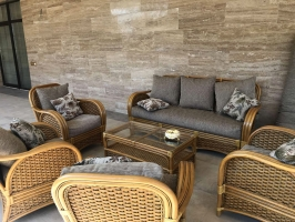 Комплект мягкой мебели Пеликан CRUZO (диван, 2 кресла и кофейный стол) натуральный ротанг, коричневый, kp5811