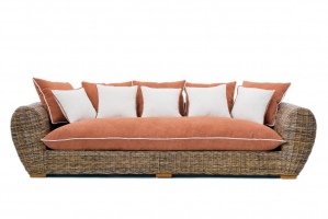 Великий диван Пеллегріно CRUZO натуральний ротанг, коричневий, pl0002