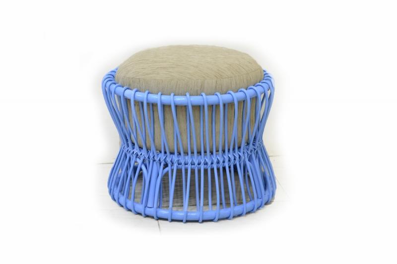 Пуф CRUZO PAD натуральный ротанг голубой s0006