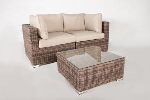 Модульный диван двойка + столик CRUZO Раунд искусственный ротанг коричневый d0026