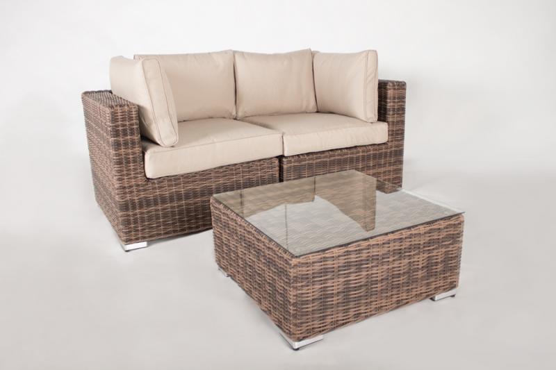 Модульный диван двойка + столик CRUZO Раунд искусственный ротанг, коричневый, d0026