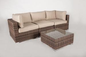 Модульний диван трійка + столик CRUZO Раунд штучний ротанг, коричневий, d0025