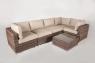 Угловой модульный диван CRUZO Раунд искусственный ротанг, коричневый, d0001