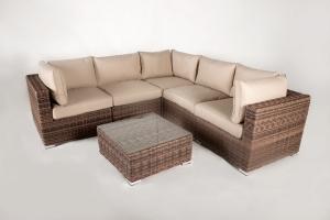 Угловой модульный диван Раунд искусственный ротанг коричневый, Cruzo™ d0001